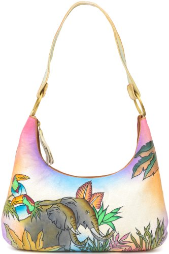 ZIMBELMANN MICHAELA Genuine Nappa Leather Hand-painted Hobo Shoulder Bag Purse by Zimbelmann (Image #2)