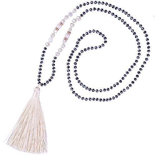 KELITCH Shell Pearls Hematite Beaded Necklace Handmade Tassels Pendants Pearl Strands Necklace Chokers Jewelry for Women (Beige E)