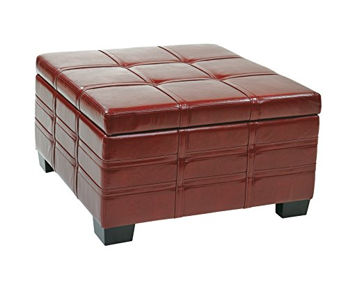AVE SIX Detour Bonded Leather Strap Storage Ottoman with Tray and Slam Proof Hinges, Crimson Red ()