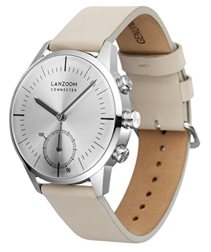 LANZOOM Series Oder Fashion Multifunctional 3 Buttons Quartz Hybrid Smart Watch 41mm Stainless Steel Case Italian Leather Band For Men (White + Grey) by LANZOOM