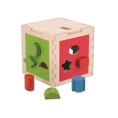Bigjigs Toys Wooden Shape Sorting Cube - Educational Sorting Activities, Multicolored: Toys & Games