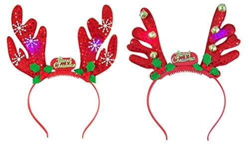 - Decorative Light Up Antler Christmas Party Headbands, Pack of 2