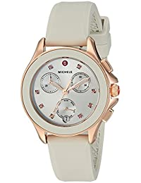 MICHELE Women's 'Cape Chrono' Swiss Quartz Stainless Steel and Silicone Casual Watch, Color:Beige (Model: MWW27C000011)