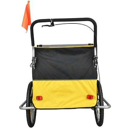 Remolque de bici para niños con kit de footing, color: amarillo/negro 502-03: Amazon.es: Bebé
