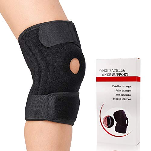 Hinged Knee Brace- Open Patella Knee Support with Adjustable Compression Stabilizer for Swollen ACL, Tendon, Ligament, Meniscus Injuries, Ligament, Sports Activities