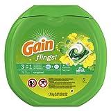 Gain 10037000867927 Flings Detergent Pods, Original, 0.06 Pac, 72/container, 4 Container/carton