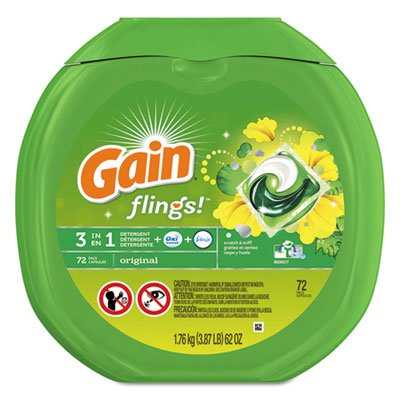 Gain 10037000867927 Flings Detergent Pods, Original, 0.06 Pac, 72/container, 4 Container/carton by GAIN