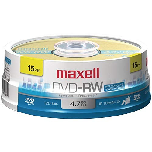 Maxell(r) 635117 4.7gb 120-Minute Dvd-Rws (15-Ct Spindle) 5.50in. x 5.50in. x 1.75in. from Maxell