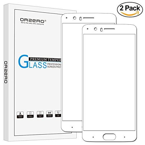 [2 Pack] Orzero For Oneplus 5 Soft Gold Tempered Glass Screen Protector, [ Full Coverage ] 2.5D Arc Edges 9 Hardness HD Anti-Scratch [Lifetime Replacement - 5 Glasses Nine