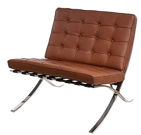 sessel stuhl replik barcelona mies van der rohe echtleder designer vetrostyle braun - Stuhl Replik