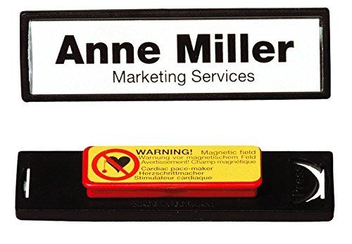 confezione da 25 pezzi cornice colorata 17x67 mm aggancio sicuro DURABLE 813201- Portanome con magnete nero pannello frontale convesso in acrilico