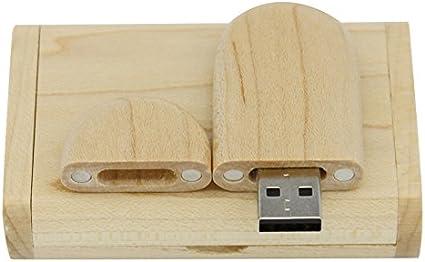 Yaxiny. Unidad Flash USB 2.0 de madera de arce. Memoria USB con caja de madera (1.0 GB): Amazon.es: Informática