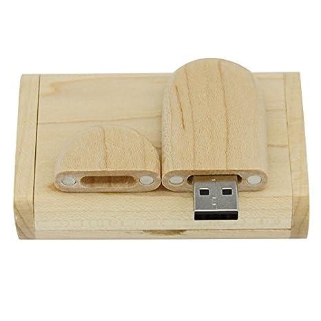 Unidad Flash USB 2.0 de madera de arce. Memoria USB con caja de