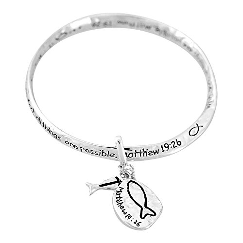 St Matthew Costume Ideas (With God All Things Possible Matthew 19:26 Women's Silver-Plated Hammered Mobius Bangle Bracelet)