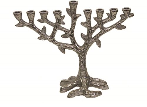 Ben & Jonah Lamp Lighters Ultimate Judaica Menorah Tree Design with Nickel Plated Finish - 7