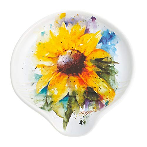 Sunflower Rest Spoon - DEMDACO Sunflower Watercolor Yellow On White 5 x 5 Glossy Stoneware Spoon Rest