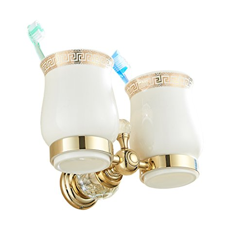 (OWOFAN Tumbler Toothbrush Holder with Double Ceramics Cups Wall Mouned Bathroom Shelf Crystal Deco Brass Gold HK-32K)