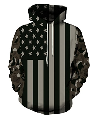 EOWJEED Unisex Realistic 3d Digital Print Pullover Hoodie Hooded Sweatshirt (Juniors Graphic Hoodie)
