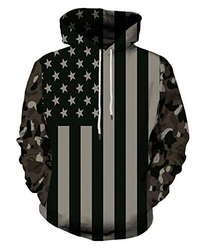 EOWJEED Unisex Realistic 3d Digital Print Pullover Hoodie Hooded Sweatshirt (Juniors Graphic Hoodie)