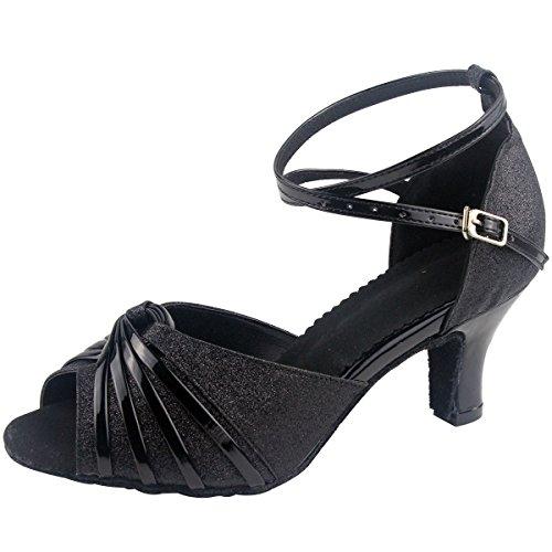 Baile Zapatos de Mujeres Talón cm Satén Salón Pescado Latinos Zapatos de Baile Boca Negro Zapatos de Danza Étnica de Wealsex 6 Medio de UWTEng