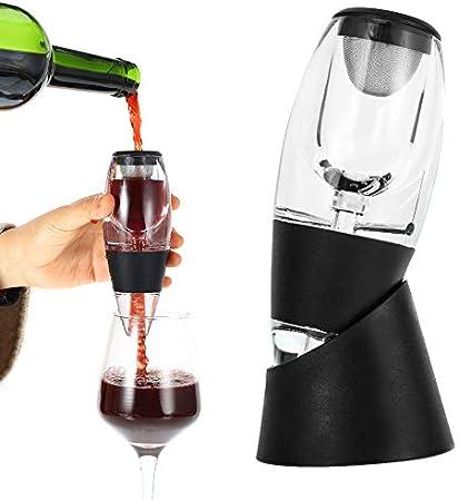 nobrand Aireador de Vino con Soporte Aireador-Decantador de Vino Perfect Aireador de Vino Pourer Decanter Decantador Aireador para Hombres y Mujeres