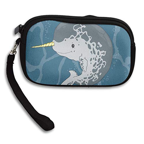 Narwhal Ocean Whale With Horn Coin Pouch Clutch Purse Wristlet Wallet Phone Card Holder Handbag -