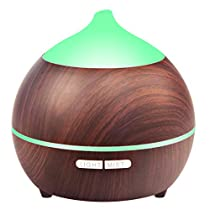 250ml Essential Oil Diffuser, Holan Wood Grain Aromatherapy Fragrant Diffuser with Cool Mist, BPA-Free, Auto-Off Safety Switch, 7 Colors Night Light