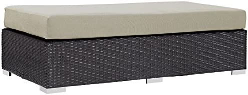 Modway Convene Wicker Rattan Outdoor Patio Rectangle Ottoman in Espresso Beige