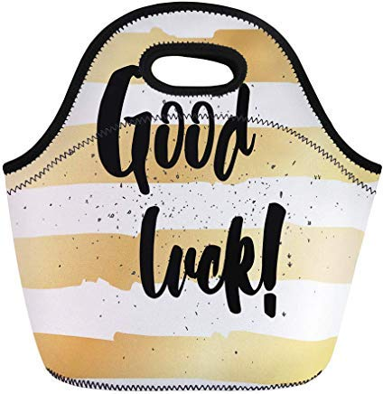 (Vontuxe Insulated Lunch Tote Bag Gold Good Luck Inscription Lettering Overlay Text Black Brush Outdoor Picnic Food Handbag Lunch Box for Men Women Children)