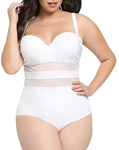 Creabygirls Womens Summer Plus Size Hollow Out Mesh Monokini Swimsuits (2X-Large, - White Suit