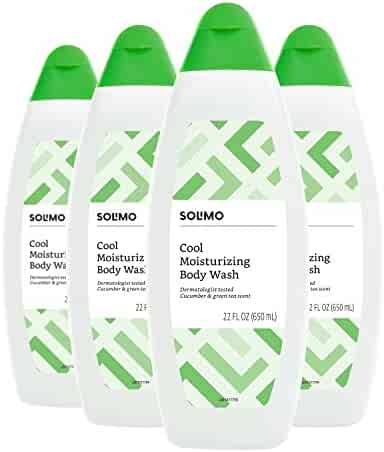 Amazon Brand - Solimo Cool Moisturizing Body Wash, Cucumber and Green Tea Scent, 22 Fluid Ounce (Pack of 4)