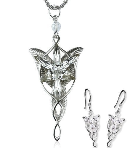 Lord of The Rings Arwen Evenstar Necklace Earrings Set,Lord of The Rings Jewelry Set,Arwen Evenstar Jewelry Set
