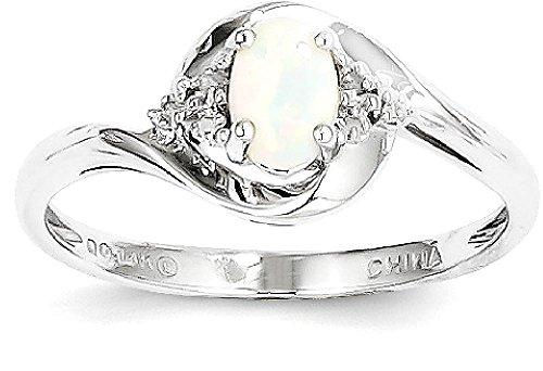 Opal Diamond Gold Anniversary Ring - 4