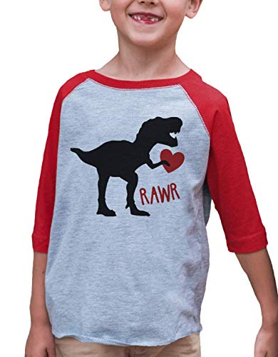 7 ate 9 Apparel Kids Dinosaur Happy Valentine's Day 4T Red Raglan
