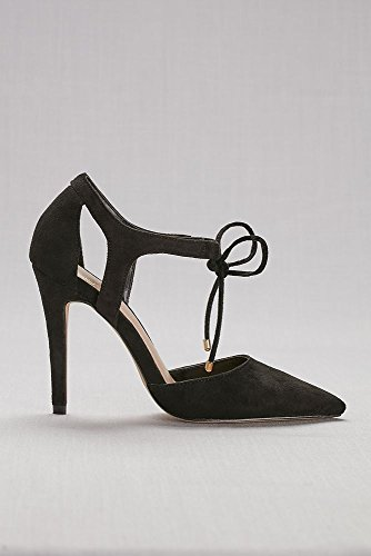 Davids Bridal Faux-Suede Ankle-Tie Pointed-Toe Pumps Style AADELE1 Black Am0LHBl