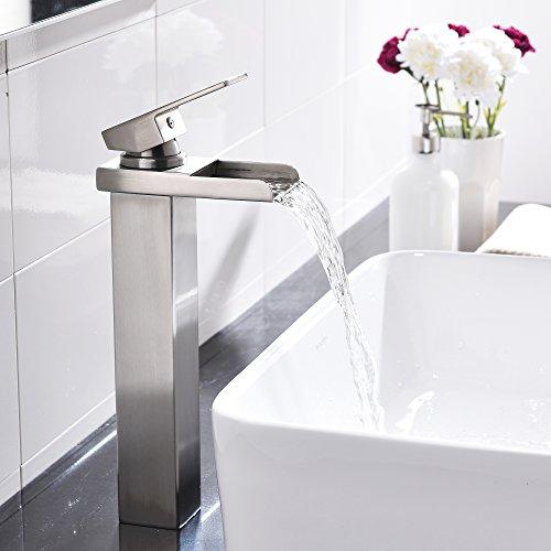 Comllen Waterfall Spout Single Handle Lever Bathroom Vessel Sink Faucet, Brushed Nickel by Comllen