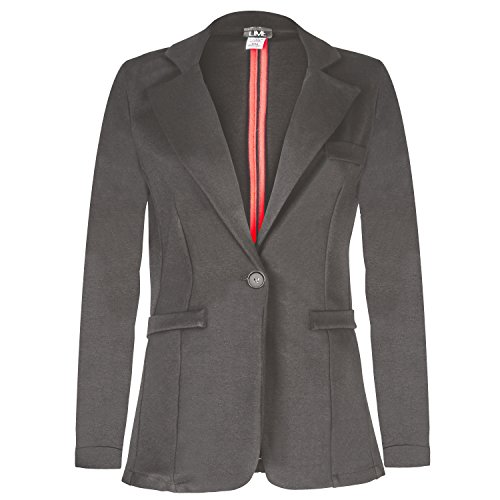 Contenta Women's Solid Boyfriend Blazer in Knit with Inner Beauty. (Medium, Charcoal)