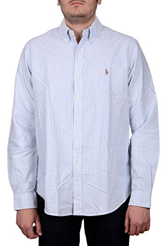 Ralph Lauren Polo Men's Slim Fit Stripe Shirt, White/Blue (M) (Best Ralph Lauren Polo Shirts)