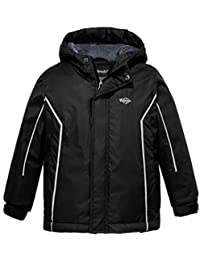 Wantdo Boy's Waterproof Ski Fleece Jacket Hooded Windbreaker with Stripes