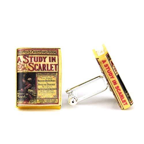 Sherlock Holmes A Study In Scarlet Arthur Conan Doyle Clay Mini Book Cufflinks Pair Blank Stud Set