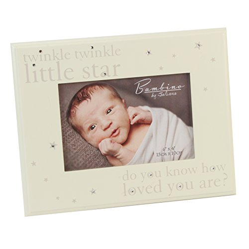 Oaktree Gifts Solid Wood with Stars and Diamante Photo Frame 6 x 4 -