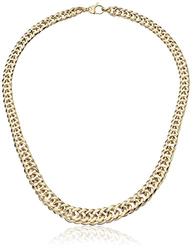 14k Yellow Gold Italian Graduated Polished Link Necklace, 17