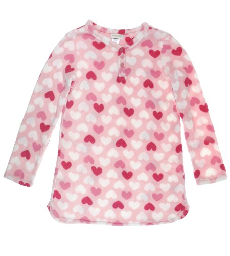 Capelli Robe (Capelli New York Baby Girls Printed Hearts Micro Cozy Long Sleeve Night Shirt Pink Combo 6/6X)