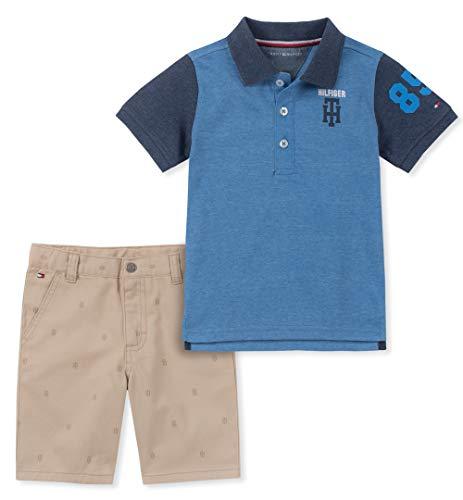 Boys 2 Pieces Polo Shorts Set, Blue 3-6 Months ()