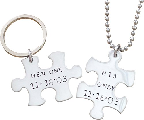 Her One/ His Only Necklace and Key chain set - Puzzle Piece Stainless Steel - Hand stamped