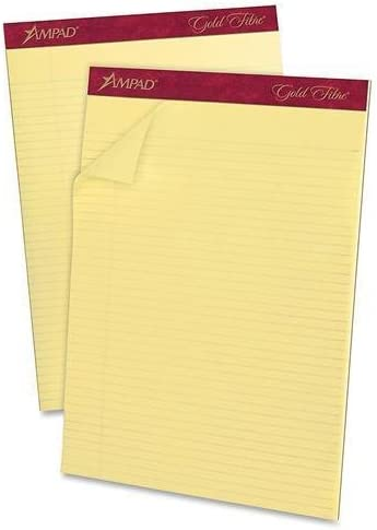 Pack of 12 8 1//2 x 11 3//4 50 Sheets Canary Esselte ESS20022 Ampad Gold Fibre Pads