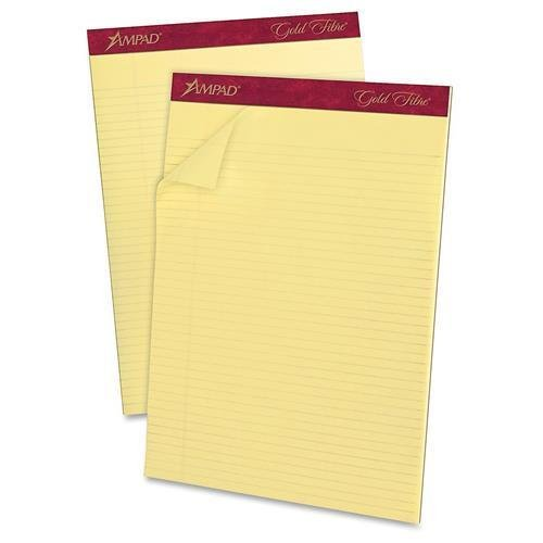 20022 Ampad Gold Fibre Narrow Ruled Prem. Writing Pads - 50 Sheets - 16 lb Basis Weight - Letter 8.50'' x 11.75'' - 12 / Dozen - Canary Yellow Paper by Ampad