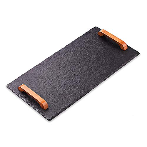VersaChalk Rustic Slate Charcuterie Cheese Board Serving Tray Platter with Wood Handles - 10 x 20 Inches