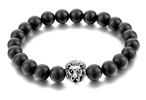 Jenhianeck Fashion Alloy Lion Head 8MM Lava Bead Bracelet Elastic Bangle(JHK.4)