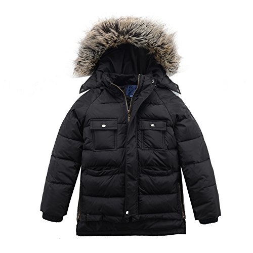 M2C Boys Winter Faux Fur Hooded Warm Insulated Jacket Parka